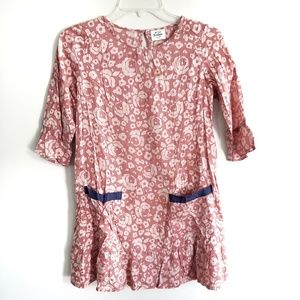 Mini Boden / Pink Floral Rose Dress with Pockets